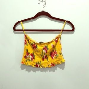 Flowered yellow tube top